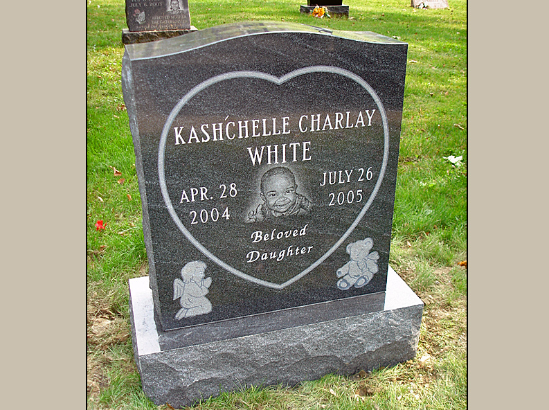 Upright Etched Baby Portrait Headstone Pictures