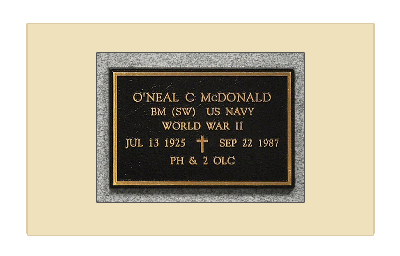 Example of a Bronze Niche Marker Supplied by the U.S. Government to Mark a Columbaria or Mausoleum niche used for the inurnment of cremated remains of a veteran.