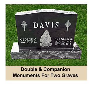 Flat and Upright Double and Companion Monuments and Headstones For Graves For Two People Including Price Ranges