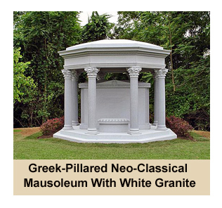 Greek-pillared Neo-Classical Style Mausoleum Built By Rome Monument