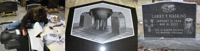 Picture of the Process of Etching a Headstone