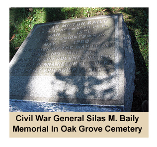 Cemetery monument for Civil War Major General Silas M. Baily who fought at Appomattox and is buried in Oak Grove Cemetery