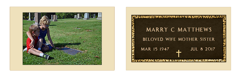 Picture of Two Matching Replica Bronze Veteran's Grave Markers For Military Spouses