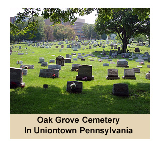 Picture of Cemetery Monuments in Oak Grove Cemetery in Uniontown, PA