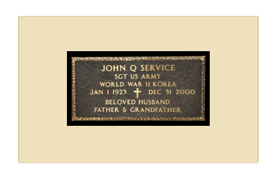 Example of a Flat Bronze Veterans Grave Marker Provided by the U.S. Government
