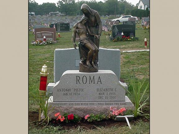 Cemetery Upright Monument With Bronze Statue Rome Monument
