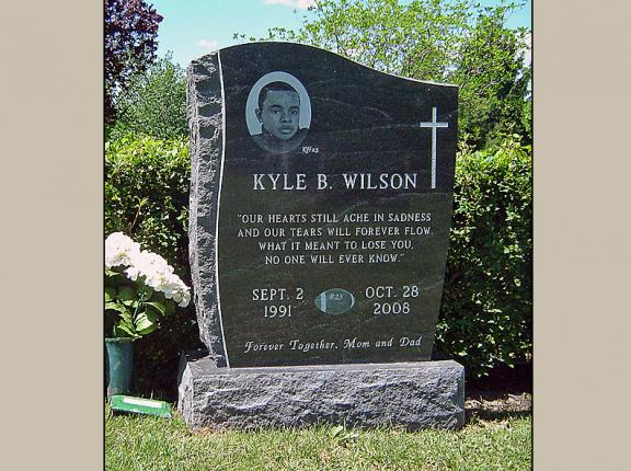 Etched Portrait Upright Monument In Black Granite With